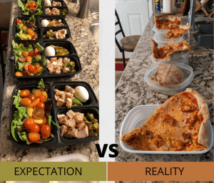 a side by side comparison of perfectly portioned meal prep containers with chicken and salad and pizza slices awkwardly stuffed into old tupperware and takeout containers