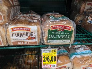 side by side comparison of oatmeal bread and whole grain oatmeal bread